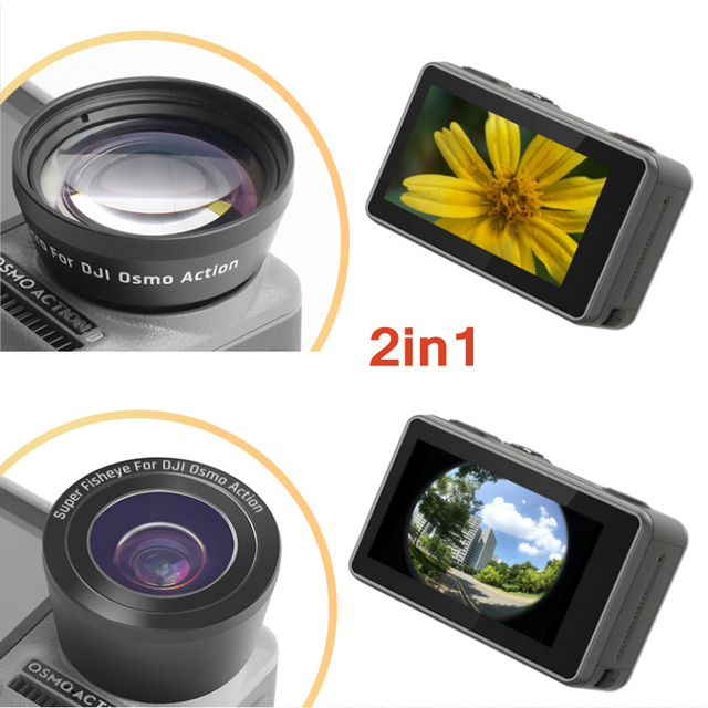 2 in 1 15X Macro Wide Fisheye Lens Camera Kit for DJI Osmo Action Optical Glass Lens Vlog Shooting Additional Lenses Accessories