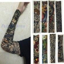 8 Pcs Mixed Nylon Elastic Fake Temporary Tattoo Sleeve Designs Body Arm Stockings Tatoo For Cool Men Women