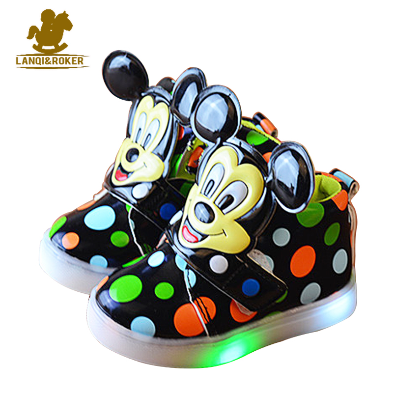 Hot Sale Children Light Shoes Fashion Kids Mouse Led Flash Sneakers Child Girls Boys Sport Running Shoes Outdoor Cute Boots