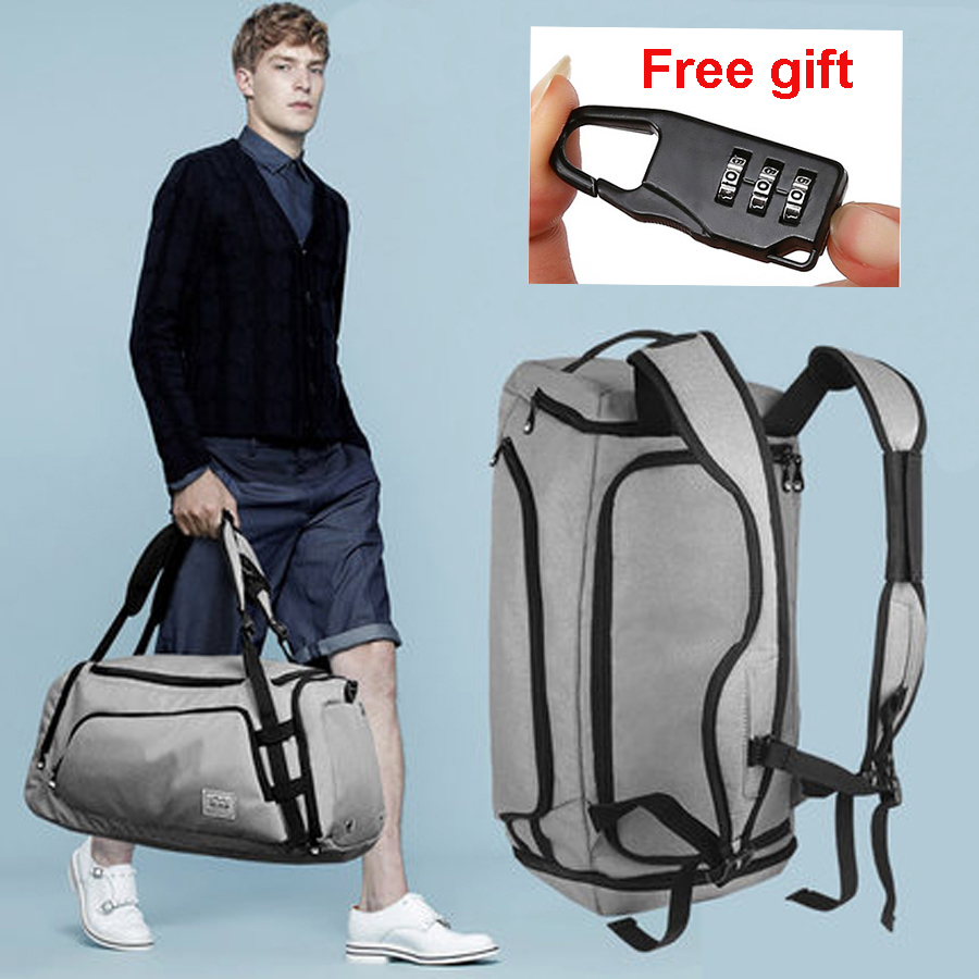 Men Travel Bag Waterproof Sport Gym Bag Multifunction Tote Large Backpack For Shoes Storage Fitness Anti-Theft Lock Sac De Black