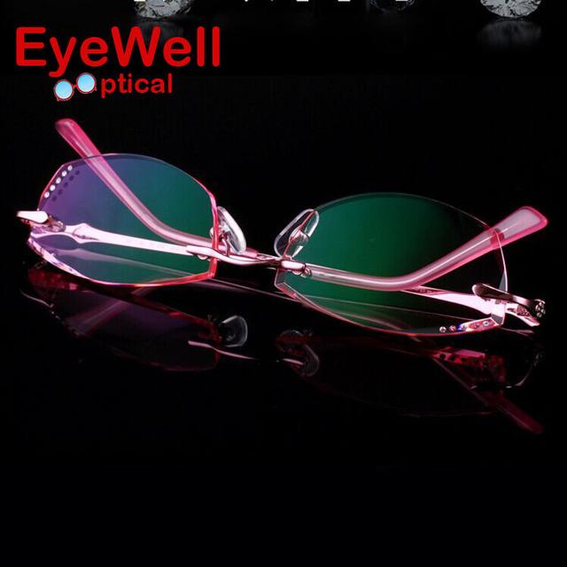 Frame Ótico Sem Aro nova Coreano Mulheres Óculos De Dioptria Fantasma Incluindo 1.61 Asphereic Tinted Lente UV400 EMI 32006