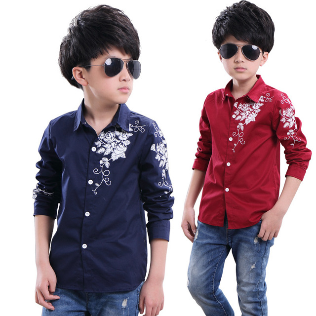 2016 Nueva primavera y otoño los niños camisetas casuales grandes camisas de los muchachos del estilo floral niños camisas para los muchachos