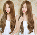 New Arrival 65cm Light Brown Culy Long Synthetic Hair,Lady's Fashionable Cosplay Wig