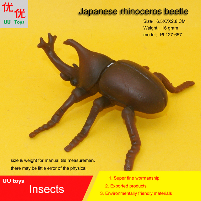US $3 8 |Hot toys Japanese rhinoceros beetle Insects Simulation model  Insects Animals kids gift educational props Action Figures-in Action & Toy