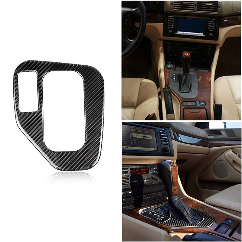 1pc LHD Decorative Frame Black Carbon Fiber Gear Shift Knob Panel Sticker Trim High Quality Suitable For BMW 5 Series E39 95-03