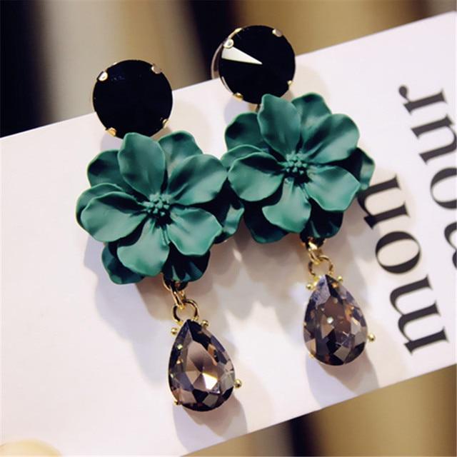 FYUAN Vintage Bohemia Natural Stone Black Crystal Big Earring For Women Fashion