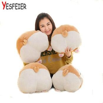 38-42 cm lindo nuevo estilo Corgi perro arse juguetes de peluche invierno mano caliente gran grasa culo muñeca de tela almohada de peluche para niños