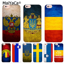 MaiYaCa Russian Federation Ukraine Sweden Slovenia Flag for iPhone Plus X XR XS MAX Phone Cases transparent Soft TPU Cover Cases(China)