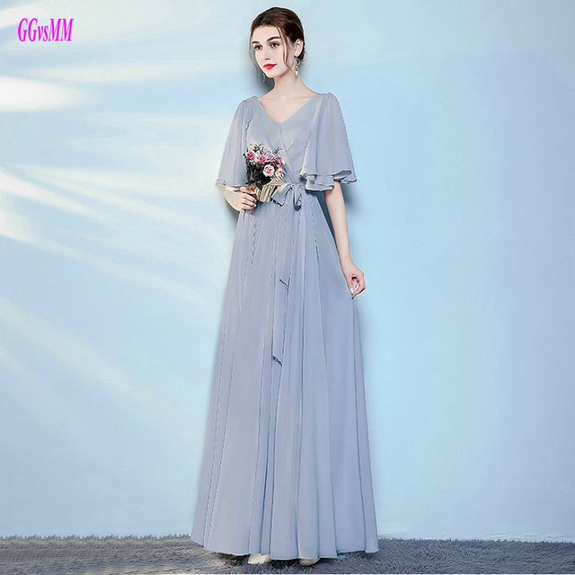 d602778582 Brilliant Gray Bridesmaid Dresses Long 2018 Sexy Casual Wedding Party Dress  Chiffon Pleat Lace-Up Floor-Length Bridesmaid Gowns