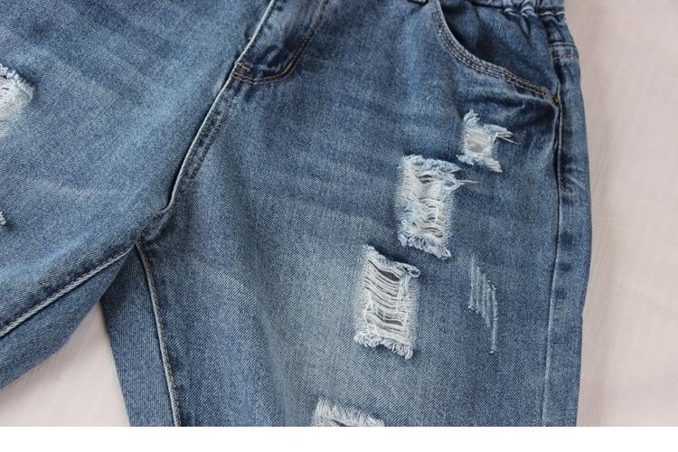 New Plus Size Holes Ripped Jeans Women Denim Harem Pants Loose Ankle-Length Pants Boyfriends For Woman Ladies Skinny Jeans D14