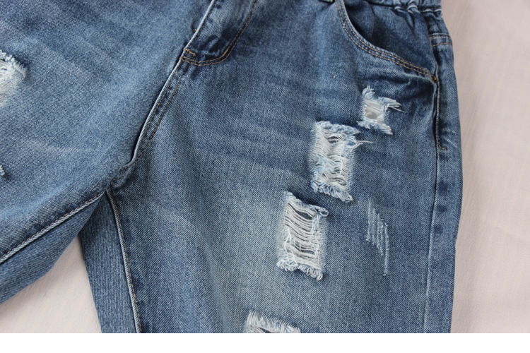 Новые Плюс размер Отверстия рваные джинсы женские Джинсовые шаровары свободные брюки до щиколотки
