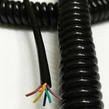 Cable eléctrico de 6 núcleos con resorte en espiral, Cable de alta potencia cuadrado 0,6, 1 unids/lote, sin dibujar, 2,5 m