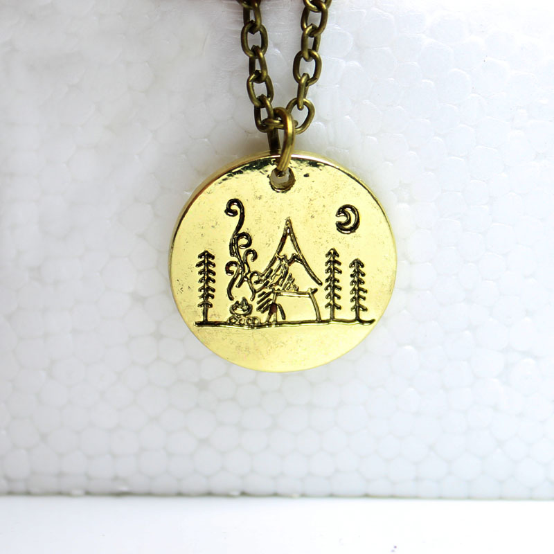 hzew Lover Gift Live the simple life mountain necklace nature pendant necklace Moon forest mountain house necklaces
