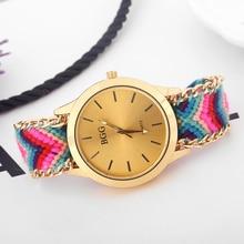 Trenzada hecha a mano Amistad Pulsera Quarzt Reloj Nueva llegada Tejida A Mano reloj de Señoras de ginebra Reloj de oro de las mujeres relojes de vestir