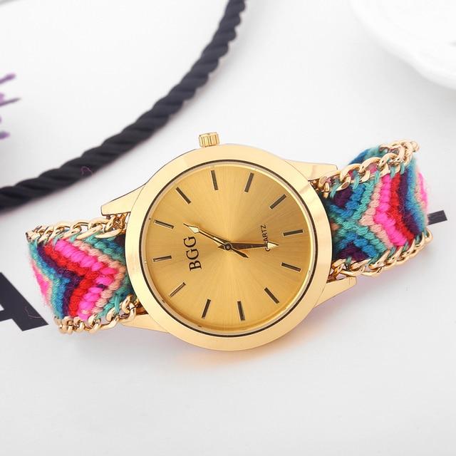 Handmade Braided Friendship Bracelet Watch New arrival geneva Hand-Woven wristwa
