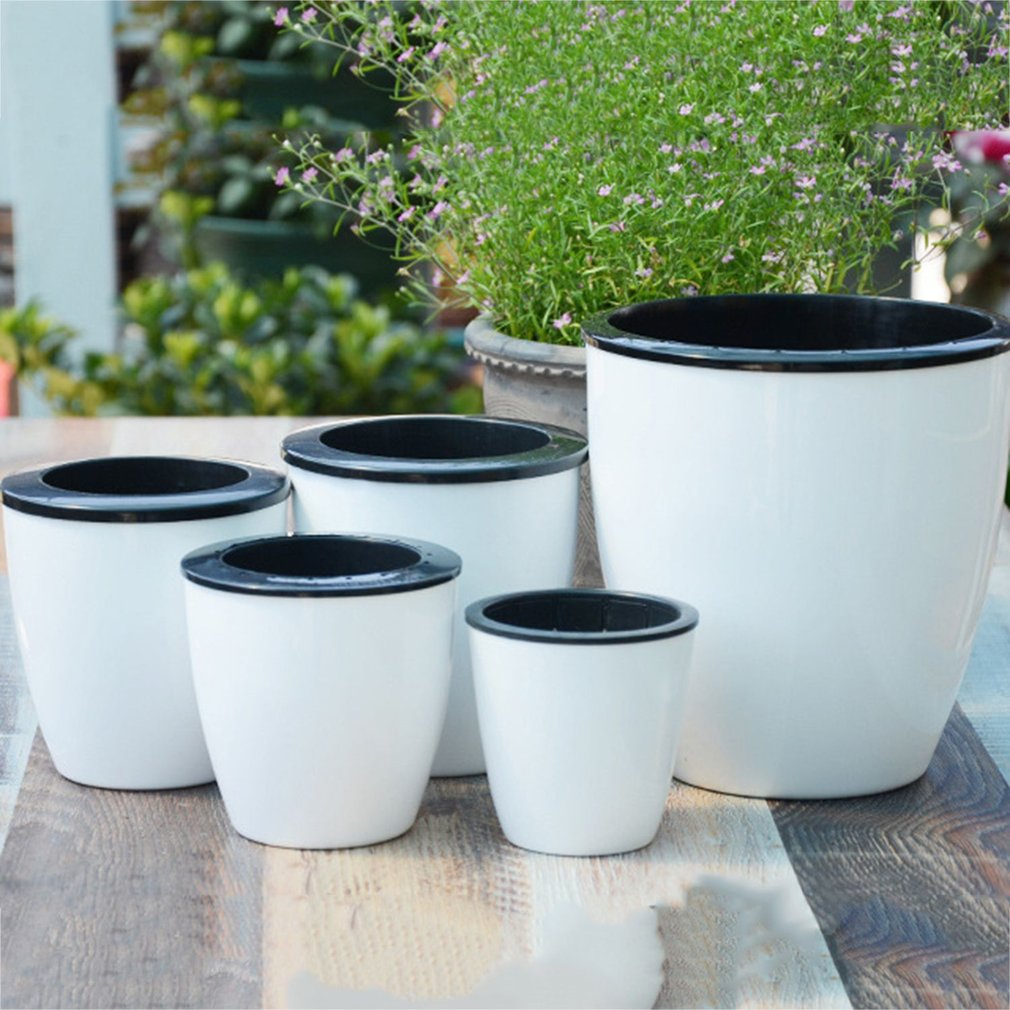 Creative Automatic Self Watering Flower Plants Pot Put In Floor Irrigation For Garden Indoor Home Decoration Gardening