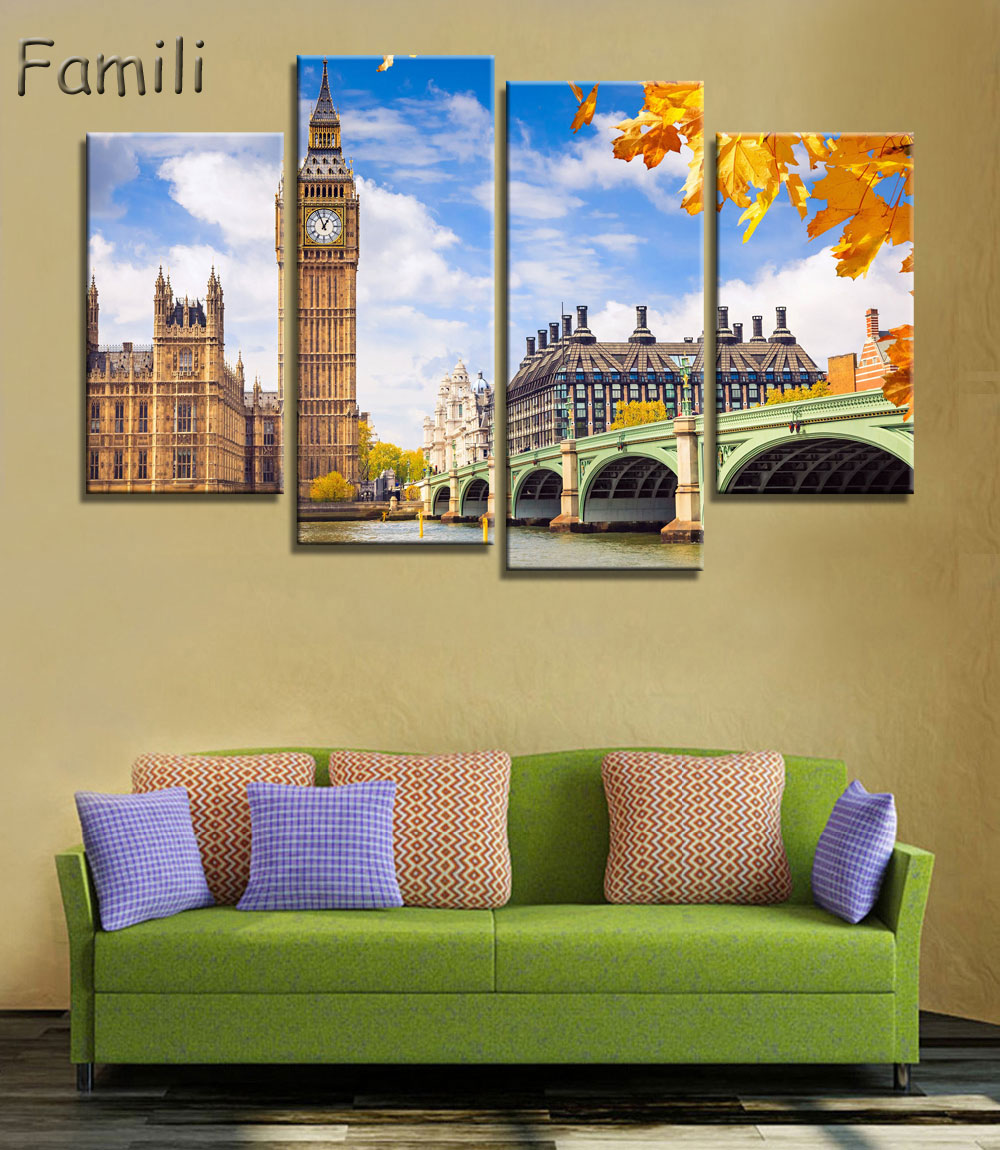 Home Decor Frame Modern HD Printed Canvas Painting 4 Pieces Black ...