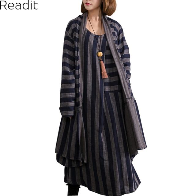 Primavera Otoño Nuevo Algodón de Lino Despojado De Impresión Irregular de Manga Larga de Las Mujeres Trench Coats Outwear D1202