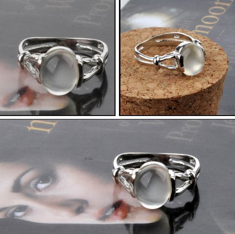 Engagement Ring Sterling Silver Moonstone