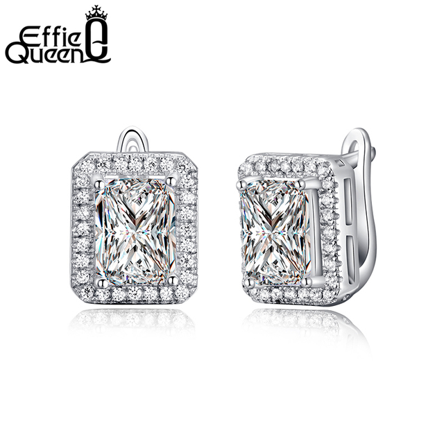 Effie Queen New Arrival 1.8 ct Rectangle Cubic Zirconia Earring Stud For Women Best Christmas Earring Gift 3 Colors Choices DE95