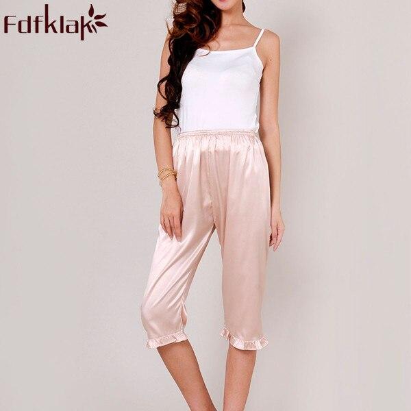 83dbf3626 Women's Lounge Pant 2017 Spring Summer Faux Silk Plus Size S-XXXL Pyjama Trousers  Sleep Pants Women White Pajama Bottoms Q338