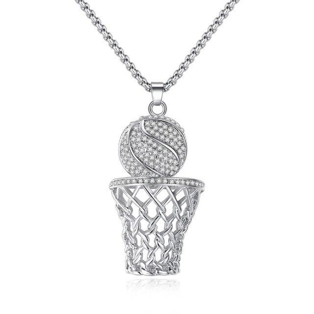 f51208e3a22d 2019 nuevo helado aro de baloncesto colgante collares Color oro collar con  cadena de acero inoxidable