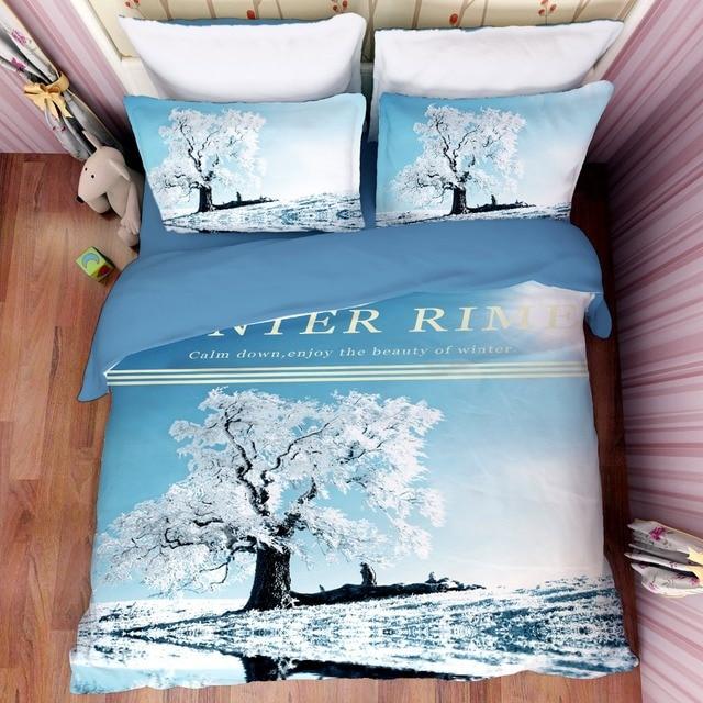 Free Shipping Christmas Gift Winter Rime Tree Pattern Bedding Set Quilt  Duvet Cover Pillow Case For