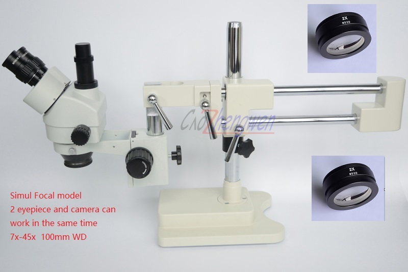 цена на FYSCOPE 3.5X-90X Microscope 50/50 Split Simul-Focal Microscope Double Boom Stand Trinocular Stereo Zoom Microscope