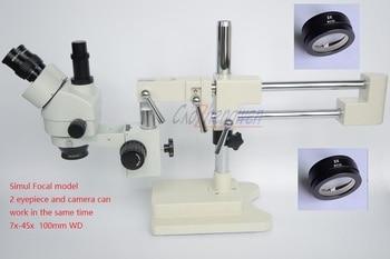 Microscope FYSCOPE 3.5X-90X 50/50 Microscope à Double flèche à deux focales avec support de Zoom stéréo trinoculaire