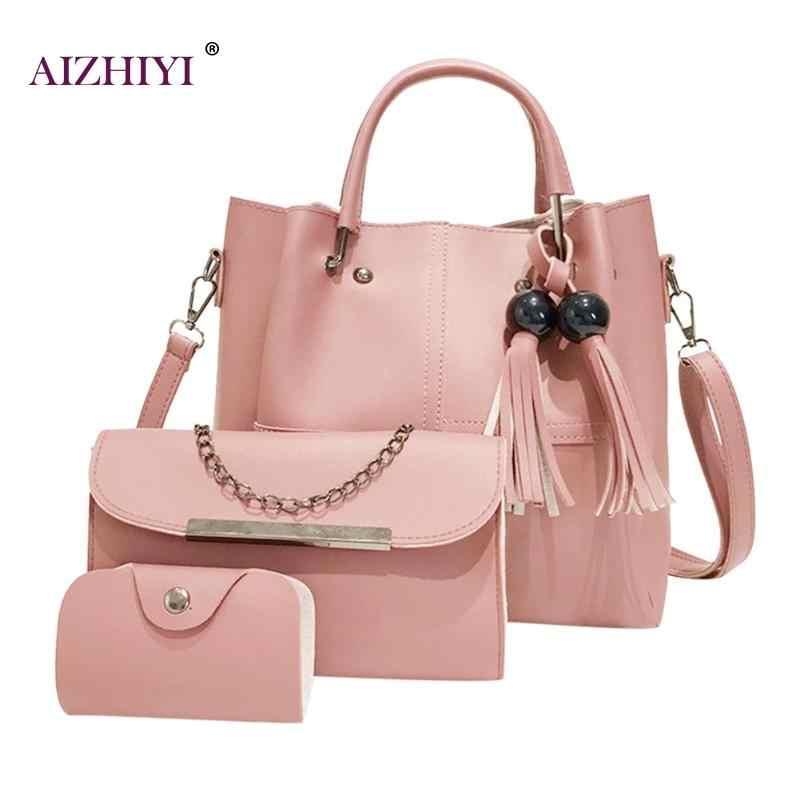 b0dff56e3fc6 3pcs set Fashion Women Handbag Beads Tassel Shoulder Tote Bag Female PU  Leather Big Capacity