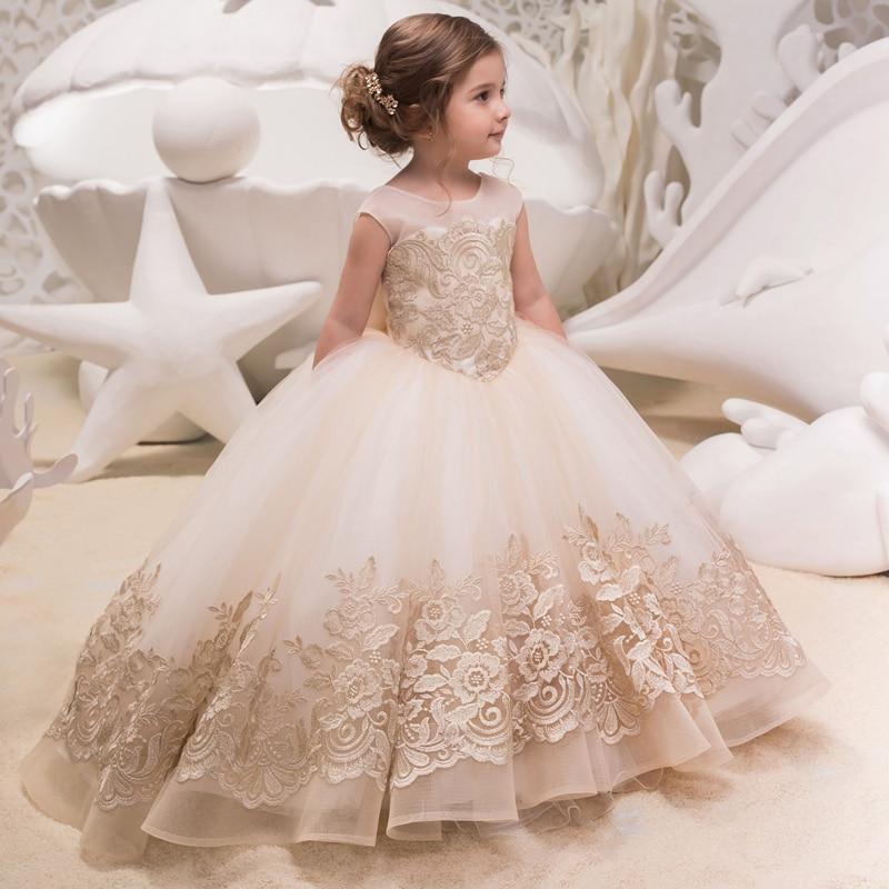 Новый для девочек в цветочек платья для свадеб кружевное бальное платье без рукавов детское вечернее платье платья для первого причастия д...