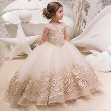 Novos Vestidos Da Menina de Flor Para Casamentos Lace vestido de Baile vestido Sem Mangas Crianças vestido de Noite Vestido de Primeira Comunhão Vestidos Para Meninas Vestido Longo