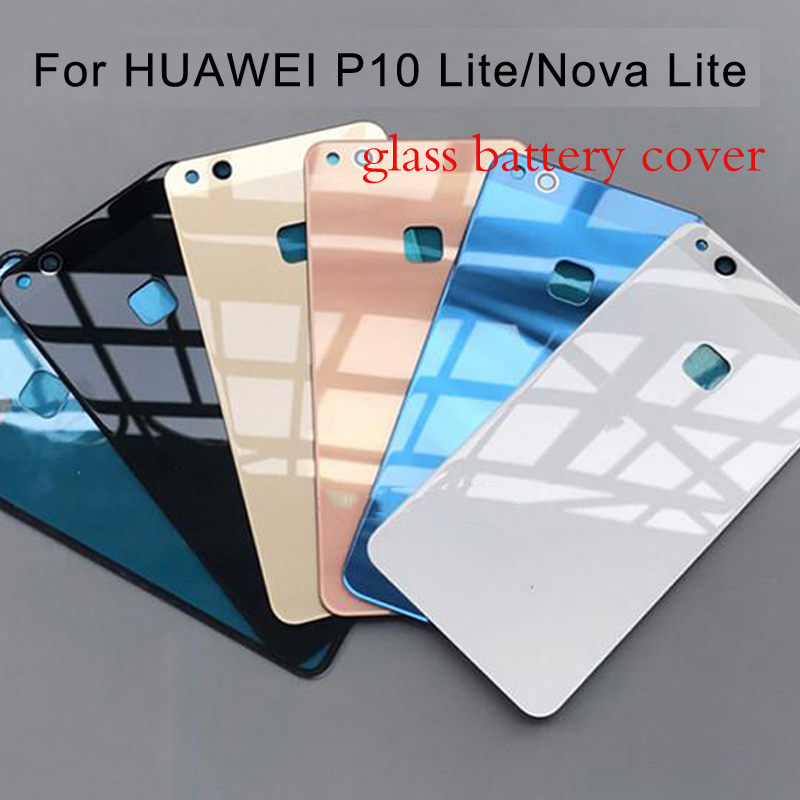 For Huawei P10 Lite/Nova Lite Glass Cover For Huawei P10lite Back Battery Cover Housing Replacement Parts With Adhesive Sticker
