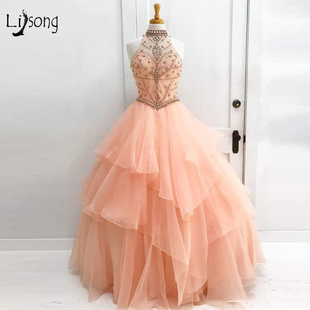 Vintage Peach Crystal Beaded Long Prom Dresses 2018 Halter Off ...