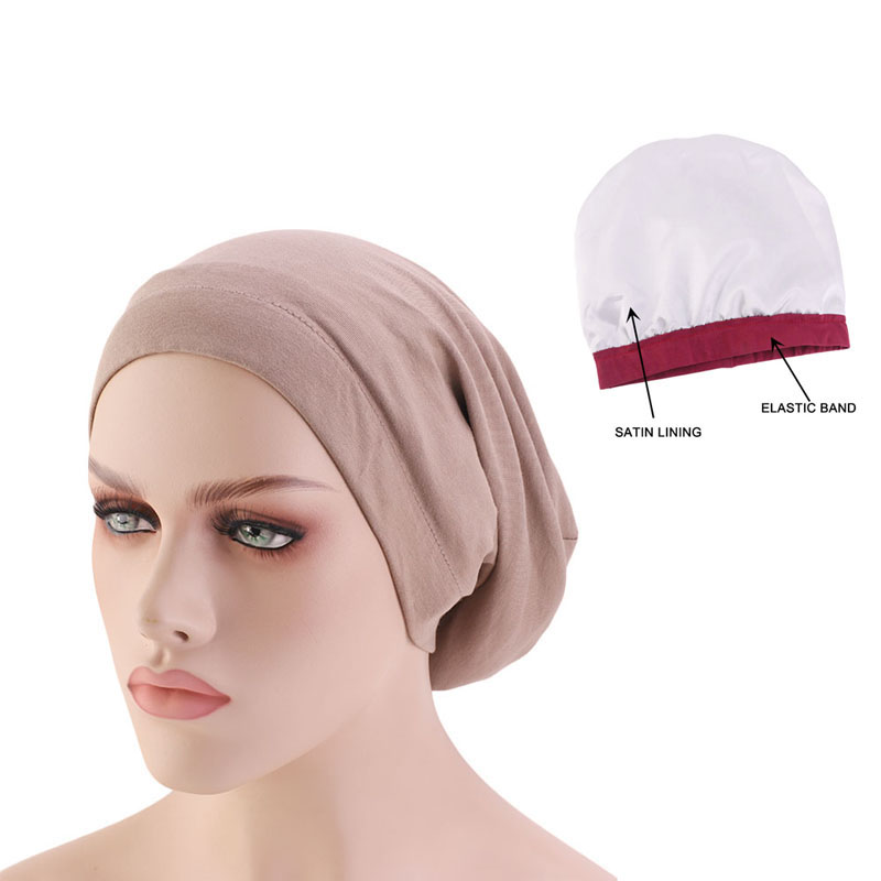 Women satin lining chemo cap elastic band night sleep cap Cancer Chemotherapy Chemo   Beanies   Cap Headwear Hair Accessories