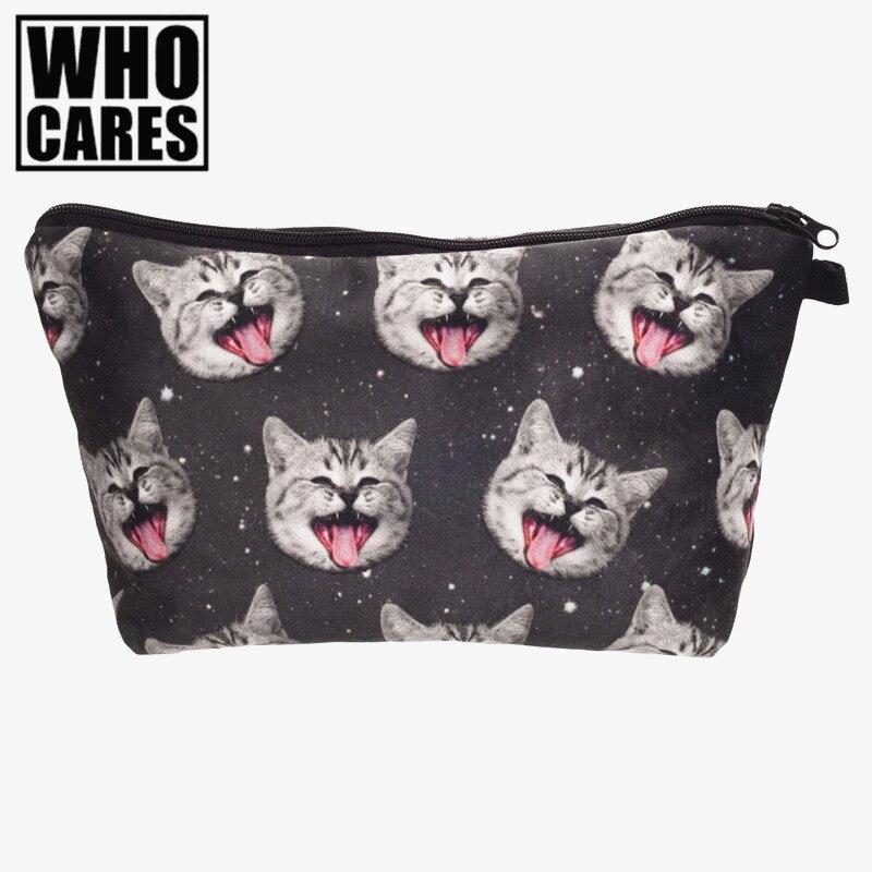 More tongue cat 3D Printing Pencil case cosmetic bag neceser 2016 Fashion New women makeup bag trousse de maquillage travel bags