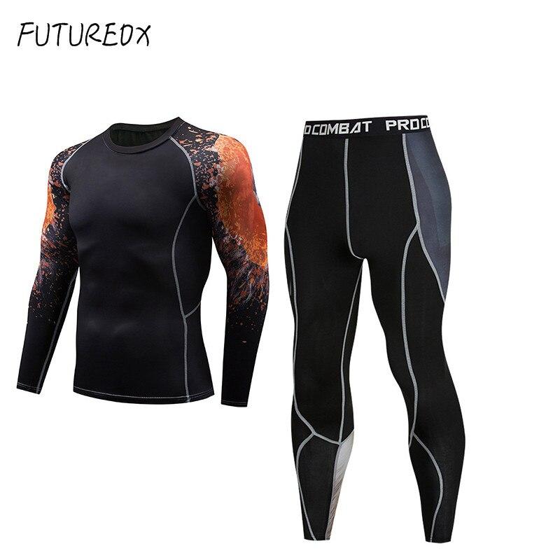 MMA 3D Teen Wolf MMA Clothing 2018 Winter Rash Guard Men Compression Clothing Thermal Underwear Men's Fitness Set BJJ