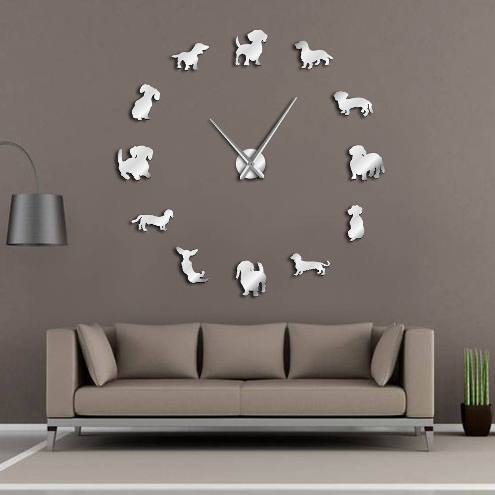 DIY Dachshund Wall Art Wiener-Dog Puppy Dog Pet Frameless Giant Wall Clock With Mirror Effect Sausage Dog Large Clock Wall Watch(China)