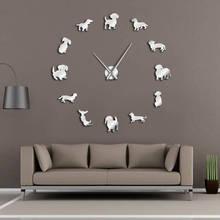 DIY такса настенное искусство Wiener-Собака Щенок Домашнее животное бескаркасные гигантские настенные часы с зеркальным эффектом Колбаса Собака большие часы настенные часы