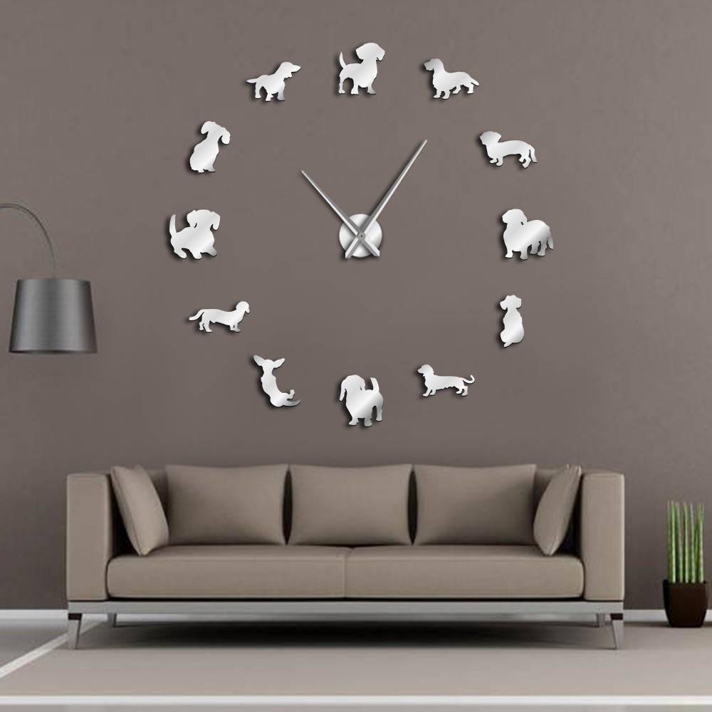 DIY Dachshund Wall Art Wiener-Dog Puppy Dog Pet Frameless Giant Wall Clock With Mirror Effect Sausage Dog Large Clock Wall Watch