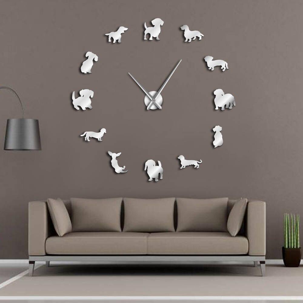 DIY Dackel Wand Kunst Wiener-Hund Welpen Hund Pet Rahmenlose Riesen Wanduhr Mit Spiegel Wirkung Wurst Hund Große uhr Wand Uhr