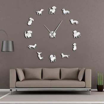 DIY arte de pared salchicha perro cachorro perro sin marco reloj gigante de pared con efecto espejo perro salchicha grande Reloj de pared reloj