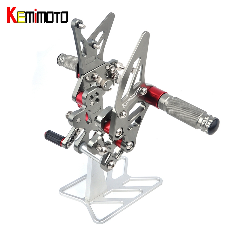 KEMiMOTO GSXR600 GSXR750 CNC Adjustable Rearset Foot Rest For SUZUKI GSX R600 GSX R750 GSXR 600