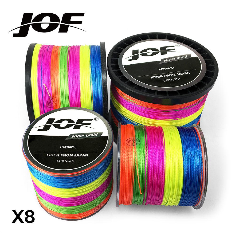 Multicolor 8 Strands 300M 500M 1000M PE Braid Fishing Line Sea Saltwater Fishing Weave 100% SuperPower JOF