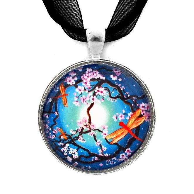 Peace Tree with Orange Dragonflies Pendant Necklace Crystal Handmade Art Long Necklaces Jewelry for Women YP2439