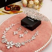 Aliexpress vendita calda tre pezzi da sposa accessori set di gioielli da sposa accessori del vestito abito da sposa tiara crown