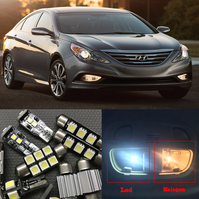 Superb 9pcs White Car LED Light Bulbs Interior Package Kit For 2011 2012 2013 2014  Hyundai Sonata