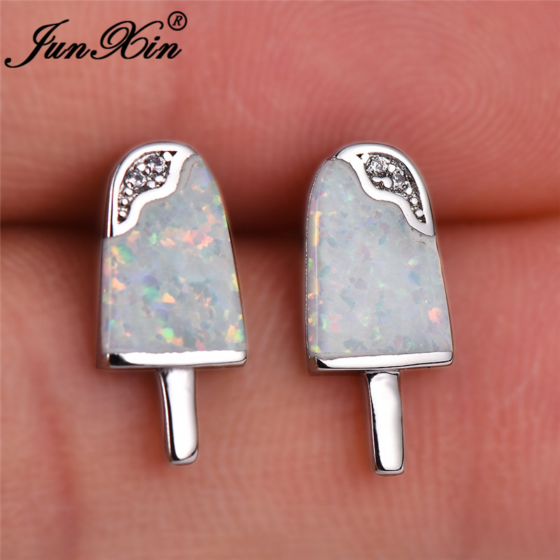 JUNXIN Cute Ice-Cream Stud Earrings For Women White Gold Rose Gold Filled Girl Small Beach White Blue Fire Opal Earrings Wedding