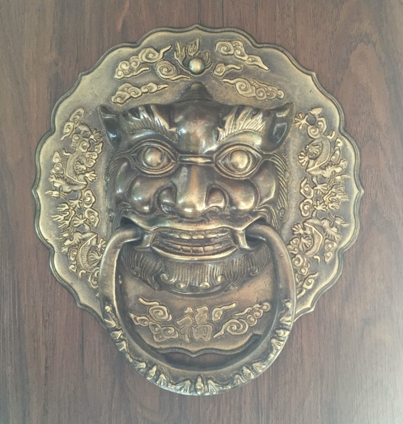 Shin! Chinese antique wood door door handle copper lion head wooden door handle Shoutou door knocker copper handle chinese antique copper fittings knocker copper handle big lion tiger beast head copper shop first hand ring gate