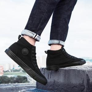 Image 2 - Chaussures classiques en toile pour homme, chaussures de sport à lacets, nouvelle tendance printemps automne solides et plates vulcanisées avec chaussures décontractées